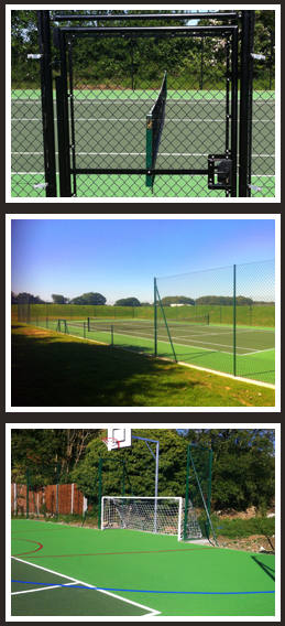 Tennis court fencing and sports area systems in