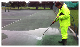 Pressure washing court