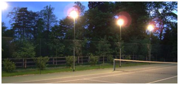 Tennis court floodlighting - Sovereign Sports