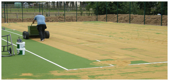 Synthetic clay tennis courts