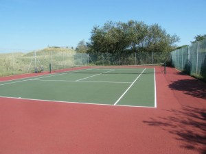 Re-colouring of tennis court in red and green
