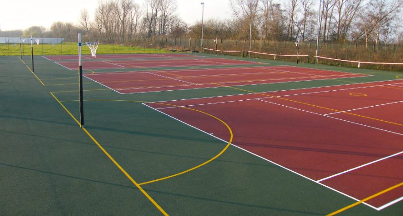 4 tennis courts, muga surface